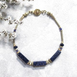 VIIART. Year of the year solar summer solstice. Blue sand purple dragon crystal brass bracelet