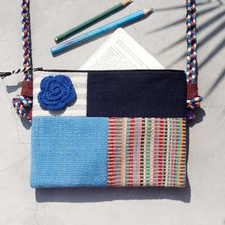 A limited edition hand-woven natural spliced ​​messenger bag / backpack / shoulder bag / bag / bag - blue sky geometric patchwork design