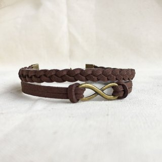 Handmade Double Braided Infinity Bracelets –dark brown limited
