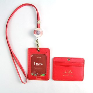 My life staff hand made leather ID card set / courage red leather hand ticket card holder card sleeve telescopic