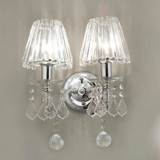Crystal double candlestick wall lamp