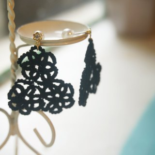 Handmade Tatting Earrings, Lace Earrings, Cotton