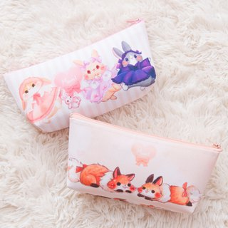 Dress bunny rabbit / squirrel fox! Pink/Orange Canvas Pencil Case