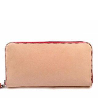 Natural Leather Red Zip Around Wallet