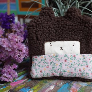 Duo rabbit buns purse - cocoa hair -171 dark pink flowers