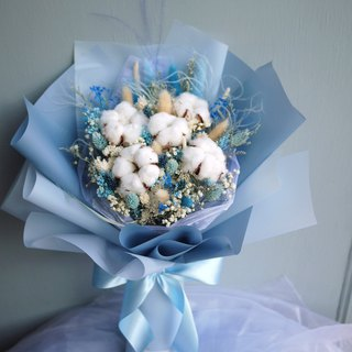 暮 Summer Forest - Cotton Blue Stars Blue and White Snow Dry Bouquet (Standing) Birthday/Mother's Day
