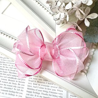 Gradient yarn twisted bow bangs clip / tender pink