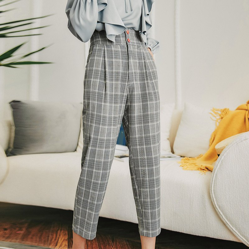 Early spring ladies wear high waist plaid pants YYQ8506