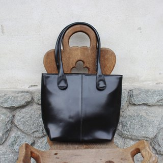 (Italian standard) (Vintage handbags) VIA BORGOSPESSO elegant black handbag (Made in Italy) (birthday gift Valentine's Day gift) B187