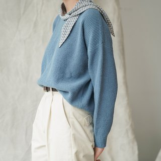 Eric Houmai | Blue V-neck loose retro movie color wool blend sweater plain simple wide sleeve
