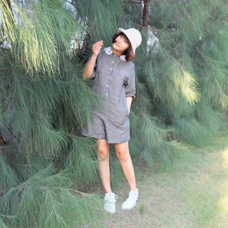 Polar Bear Collar - Linen Playsuit
