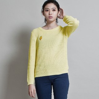 Women's round neck corn head sweater SWEATER WITH HALF-CARDIGAN STITCH