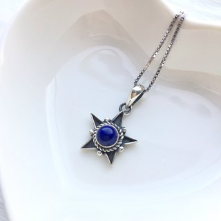 Lapis 925 sterling silver starburst design necklace