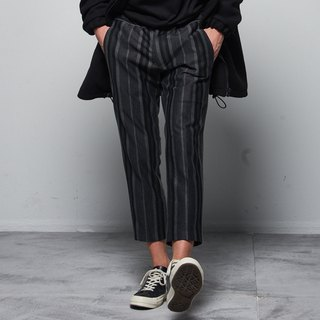 Stone @ S Soft Printed Trousers / soft cloth printed straight stripes nine pants