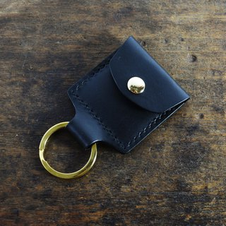 Italian Association certified vegetable tanned leather black hand-sewn personalized key ring set / access card / private money set