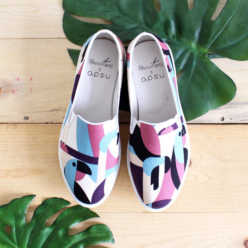 Rainbow Birds and Folding Platform Casual Shoes / Handmade / Japanese Fabric / M2-18413F