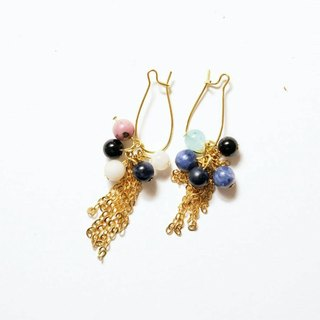 [Meteor] Handmade X natural stone earrings person (kyanite, amazonite, stone roses, black jump stone, Moonstone)