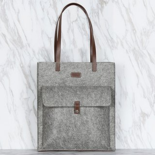 Large Capacity Light Weighted Grey Color Polyester Felt Tote Bag