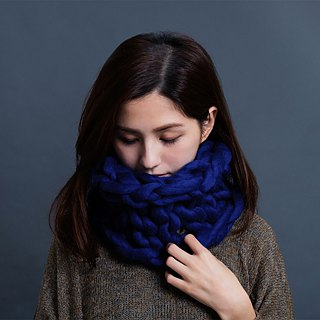 【MOUNTAIN HAND MADE】100% wool circular scarf /Turquoise