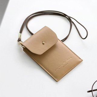ICONIC staff neck certificate card holder (with hanging strap) - elegant beige, ICO52408