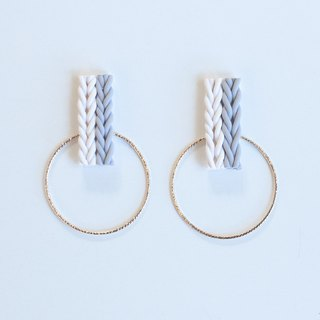 Knit and hoop earrings / earrings / white