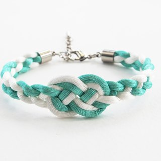 Mint/White infinity braided bracelet