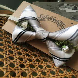 Marriage Graduation Gift - Antique Cloth Tie Tie Handmade Bow Tie - Silver White - Rose Edition