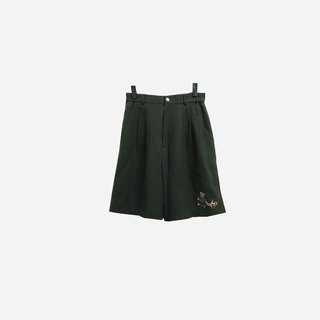 Discolored vintage / dark green embroidery shorts no.437 vintage