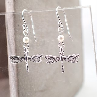 Dragon Fly Silver 925 & Fresh Water Pearl Earrings