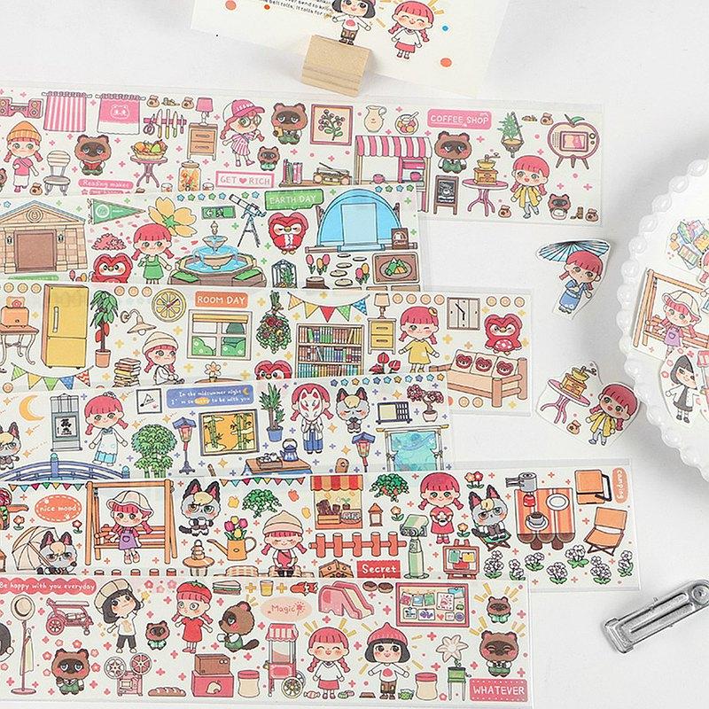 InfeelMe暖空單條裝和紙膠帶我的小夥伴可愛人物卡通動物小女孩