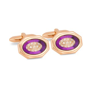 Rose Gold Octagon Purple Bezel with Crystals Cufflinks
