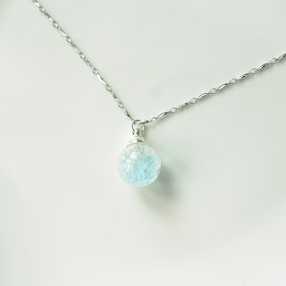 :│Sweet Dream│: Ice Crystal Glass Silver Necklace│ Ice Crystal Blue