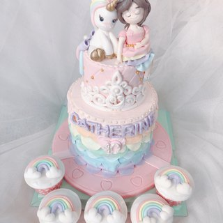 Happy Unicorn Fondant Cake