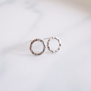 Hammered Circle Silver Stud Earrings