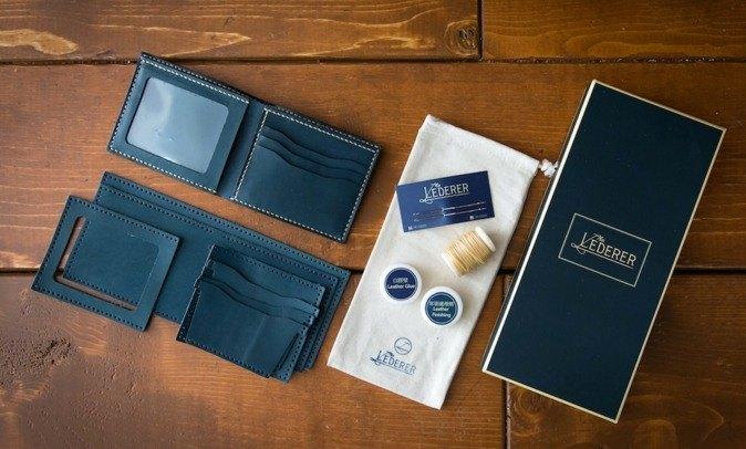 情侶套裝 相片3卡短夾2個。手縫皮革材料包。SPS002
