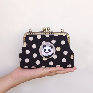 Dotted double gold - card bag / coin purse