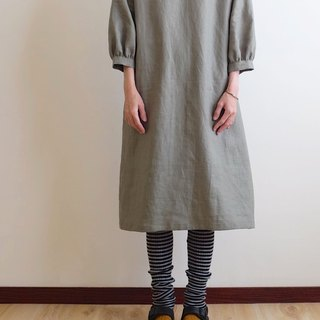 Daily hand-made suit khaki gray-green bubble sleeve straight dress linen