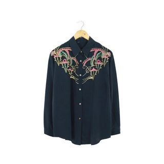 Back to Green :: silk flower embroidery shirt midnight circus Unisex wear vintage (SHJ-03)