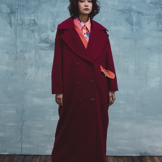 Suede stitching color long coat