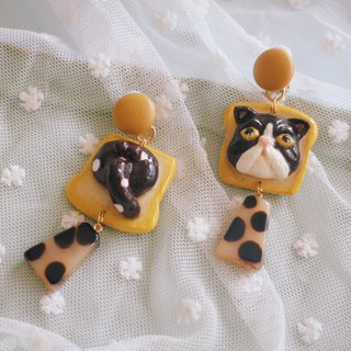 Cute pet series - bread cat clay ear clip