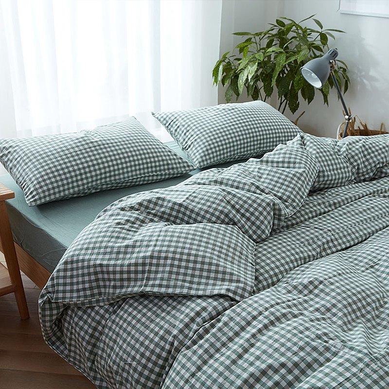 小方格綠 水洗棉 標準雙人四件組床包(台灣尺寸)