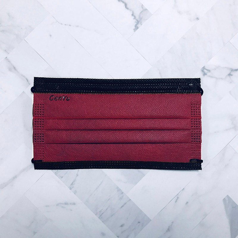 黑耀彩光系列 | 緋紅 | 50 入 1 盒 | 成人醫療口罩