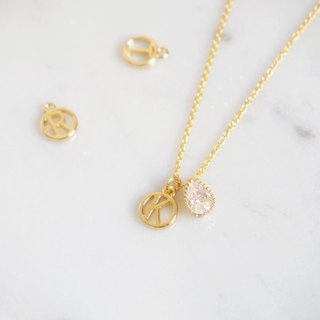 Drop-shaped imitation drill, custom-made, English alphabet, gold-plated necklace (40cm), sister ceremony