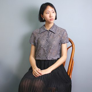 FOAK vintage classic grey lace crocheted shirt