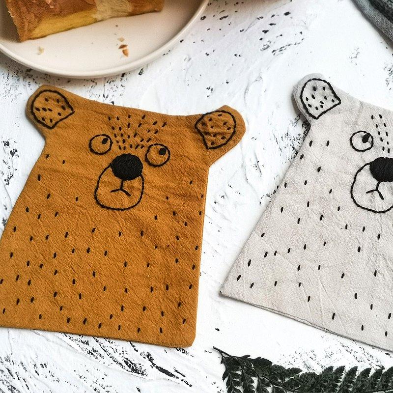 刺繡手工diy材料包初學者自繡情侶送男友 熊杯墊親子兒童製作禮物
