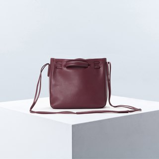 Clyde Cloud XS Leather Bucket Bag in Aubergine Color