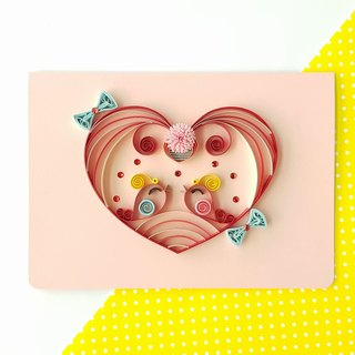 Hand made decorative cards-Lovebirds