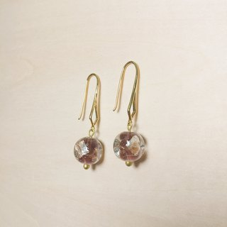 Vintage 芋 purple round side square gold and silver foil glass earrings