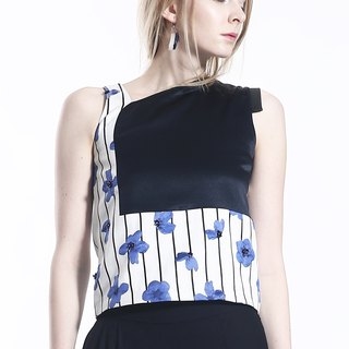 Modern Asymmetric Blue Jacquard and Triacetate Tank TOP