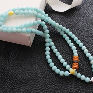 108 Series] Tiffany blue sky river stone beads 6mm